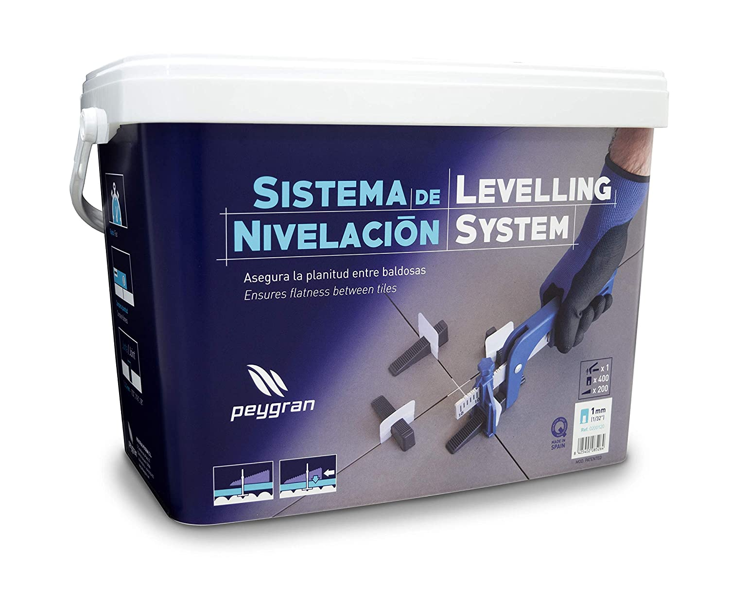 Peygran Tile Leveling System SUPER KIT 1 16 2MM 400 Clips 200 Wedges Pliers. Lippage free tile and stone installation for PRO and DIY.