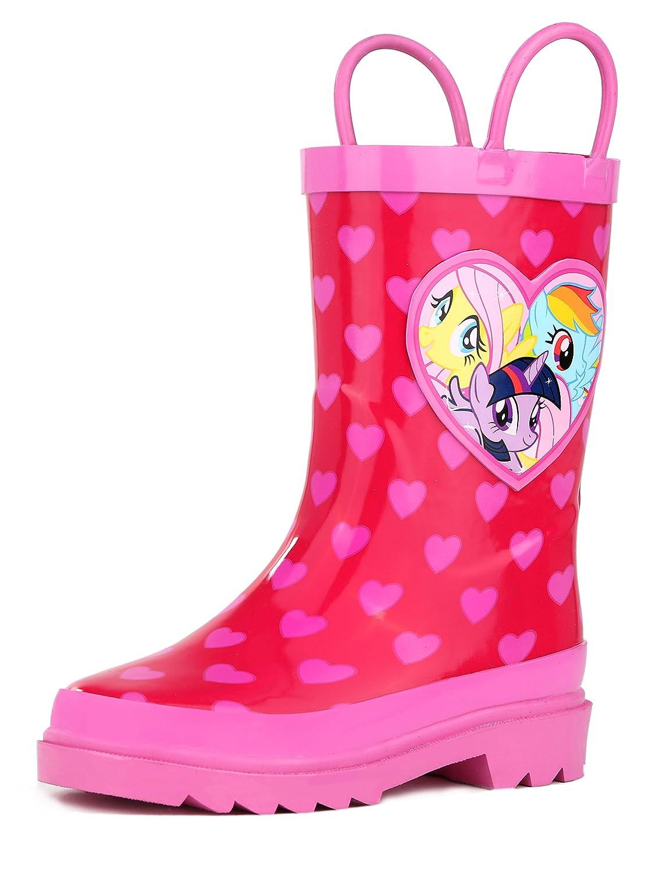 Hasbro Kids Girls' My Little Pony Rainbow Character Printed Waterproof Easy-On Rubber Rain Boots (Toddler/Little Kids)