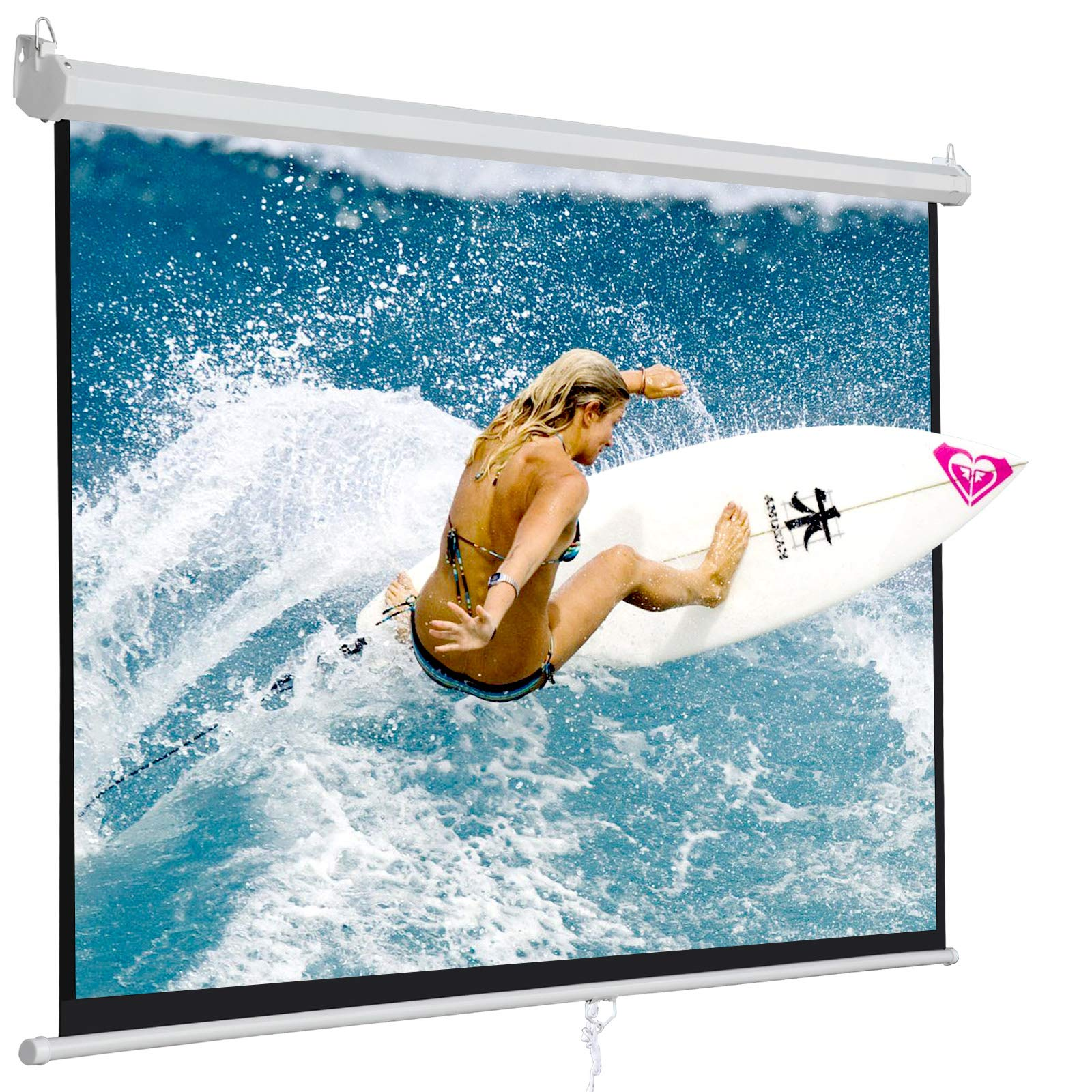 SUPER DEAL 120'' Projector Screen Projection Screen Manual Pull Down HD Screen 1:1 Format for Home Cinema Theater Presentation Education Outdoor Indoor Public Display by SUPER DEAL