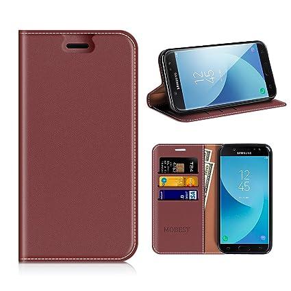 MOBESV Funda Samsung Galaxy J5 2017, Funda Cuero, Carcasa en Libro, Ranuras para Tarjetas, Soporte para Samsung Galaxy J5 2017 - Rojo