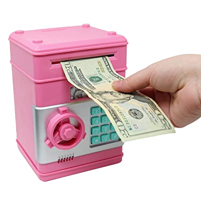 Smart Novelty Kids Electronic Piggy Bank Safe with Password Mini ATM Bank - Electronic Money Bank with Code for Kids Gifts (Pink): Toys & Games