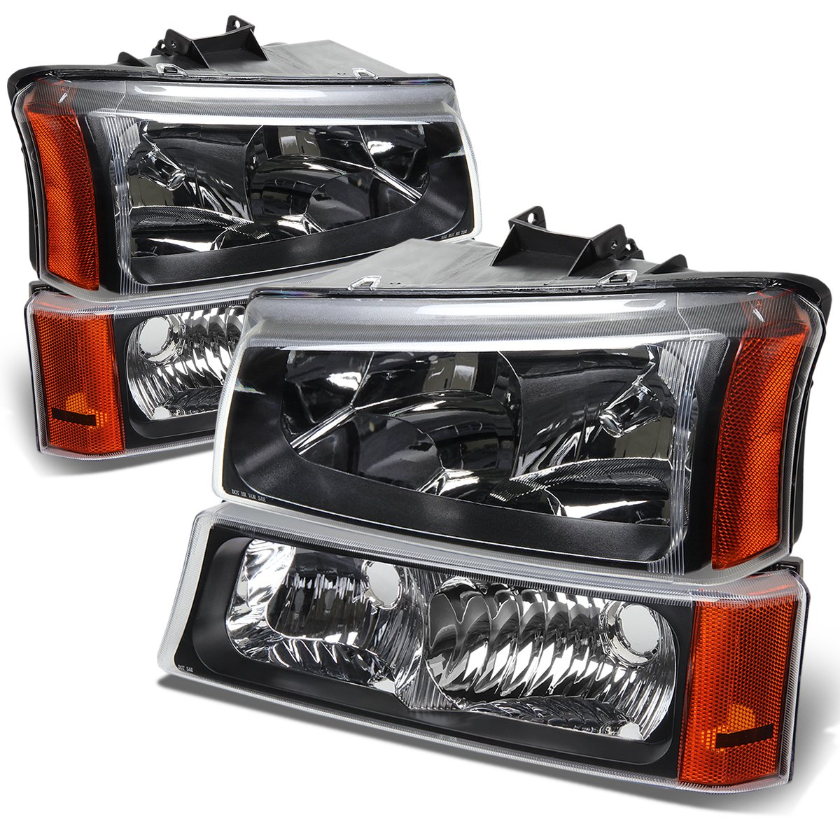 DNA Motoring HL-OH-CS03-4P-BK-AM Headlight Assembly, Driver and Passenger Side