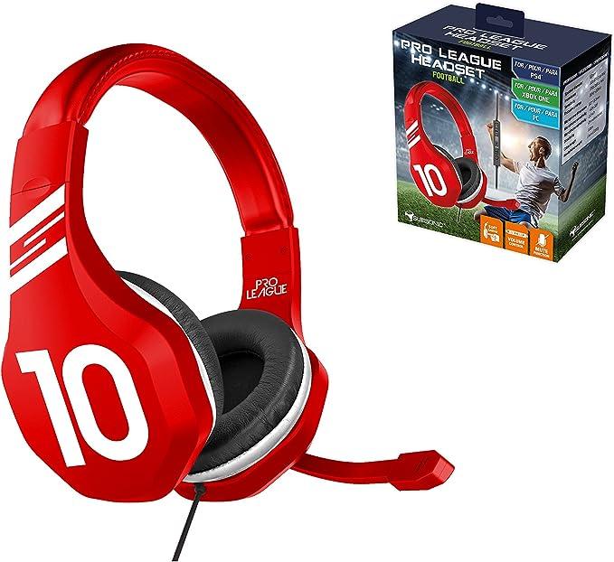 Subsonic - Auriculares para Juegos con Micrófono, Color Rojo (PS4 Slim, PS4 Pro, Xbox One, PC): Amazon.es: Videojuegos