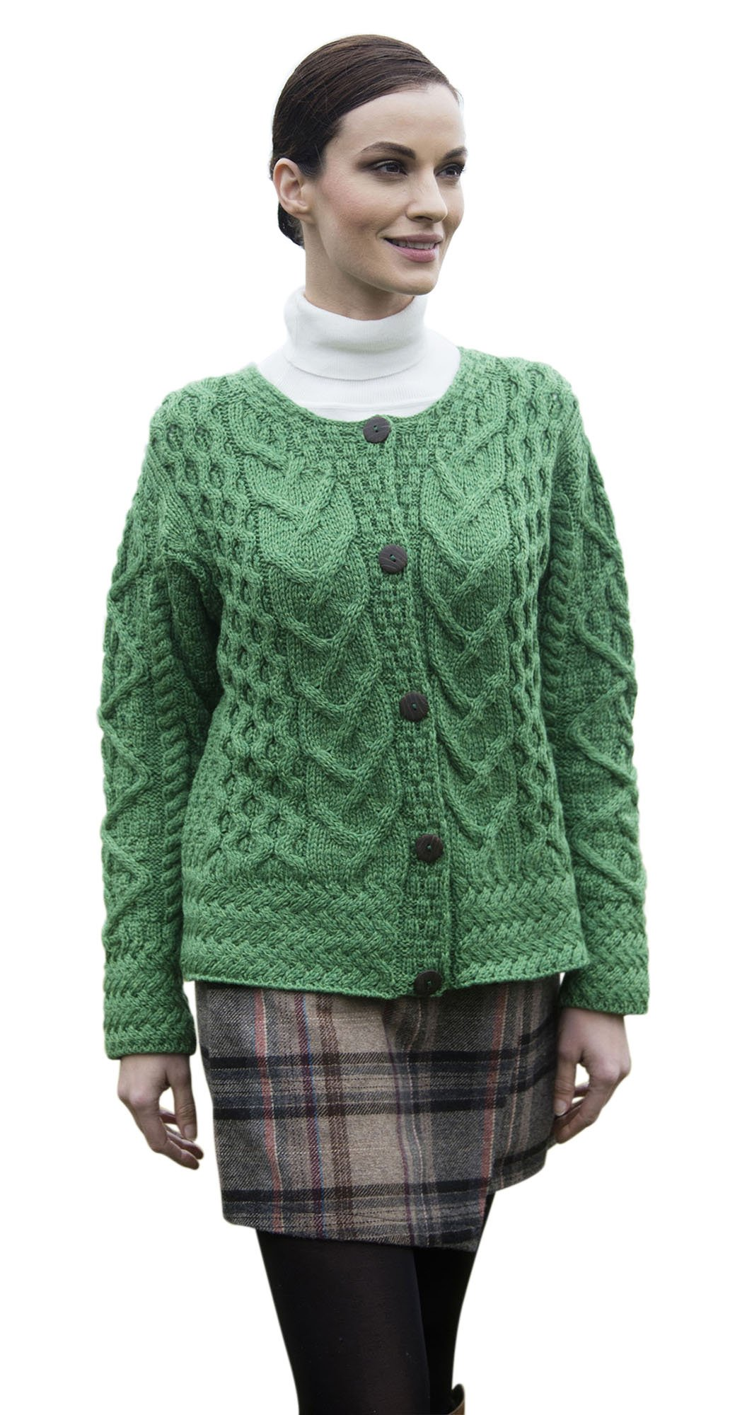 Carraig Donn Ladies Large Irish Cable Wool Cardigan (Medium, Kiwi Green)