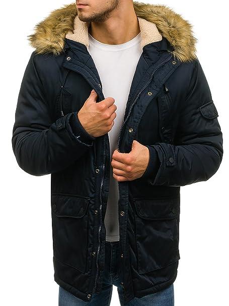 BOLF Hombre Chaqueta de Invierno Parka con Capucha Pelo Artificial Estilo Diario John Ricci R62 Azul Oscuro XXL [4D4]: Amazon.es: Ropa y accesorios