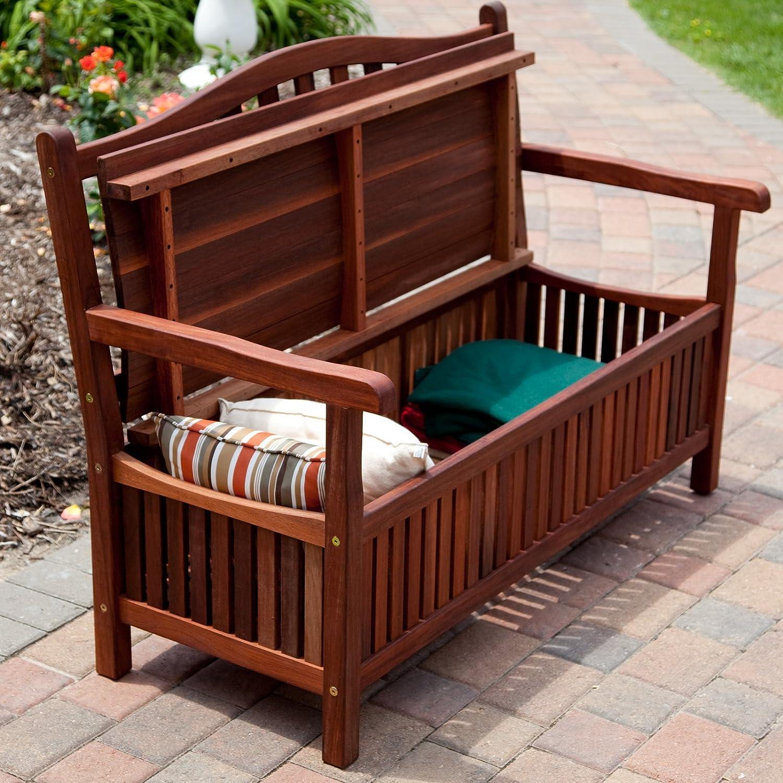amazoncom belham living richmond 51 in curvedback outdoor wood 30gallon storage bench outdoor benches patio lawn u0026 garden