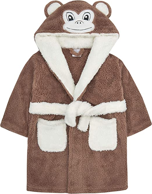 Super Soft Snuggle Hooded MINIKIDZ Childrens Kids Boys Dressing Gown Robes