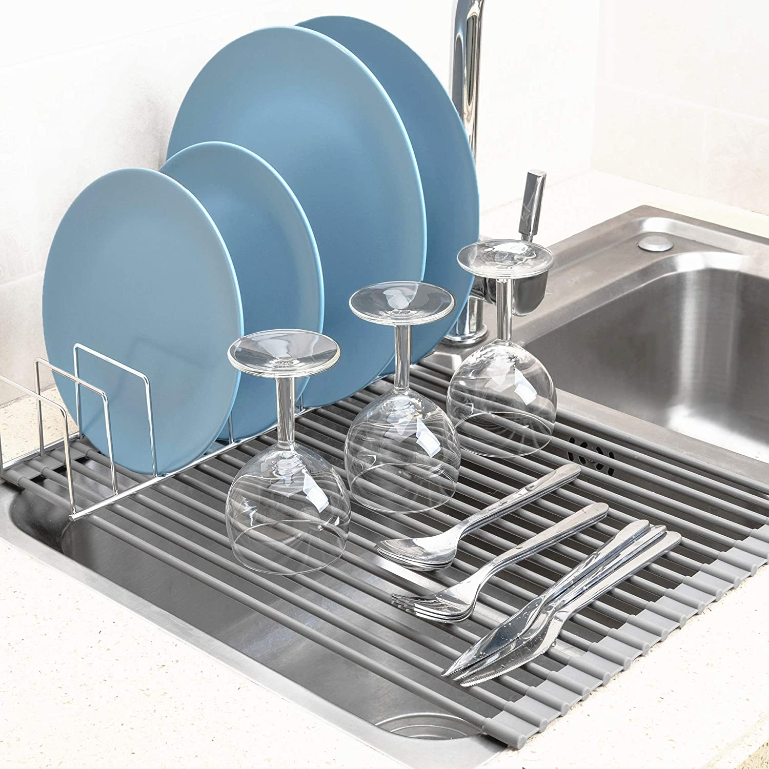 Amazon.com: iPEGTOP Over The Sink Roll Up Dish Drying Rack