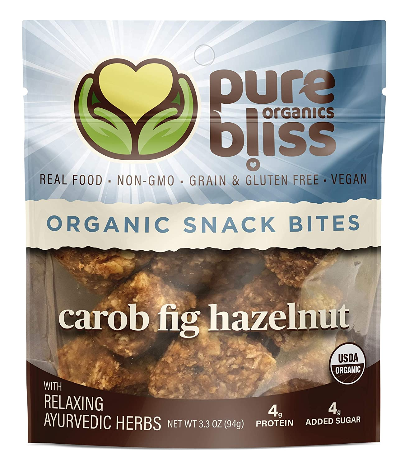 Pure Bliss Organics, Carob Fig Hazelnut Snack Bites, 3-Pack (3 x 3.3 oz Pouches), Certified Organic Real Food Snack Bites, Vegan, Gluten Free, non-GMO, With Relaxing AYURVEDIC Herbs