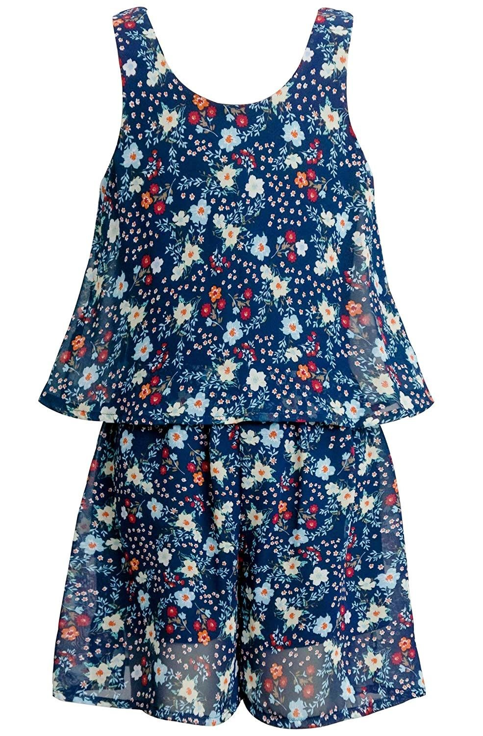 Truly Me, Big Girls Tween Sweet Floral Romper (Many Options), 7-16 (14, Navy Floral)