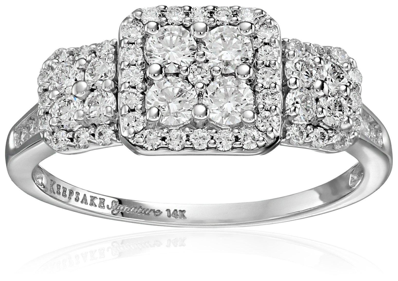 Keepsake Signature 14k White Gold Diamond Three-Stone Engagement Ring (1cttw, H-I Color, I1 Clarity), Size 7 by Amazon Collection (Image #1)