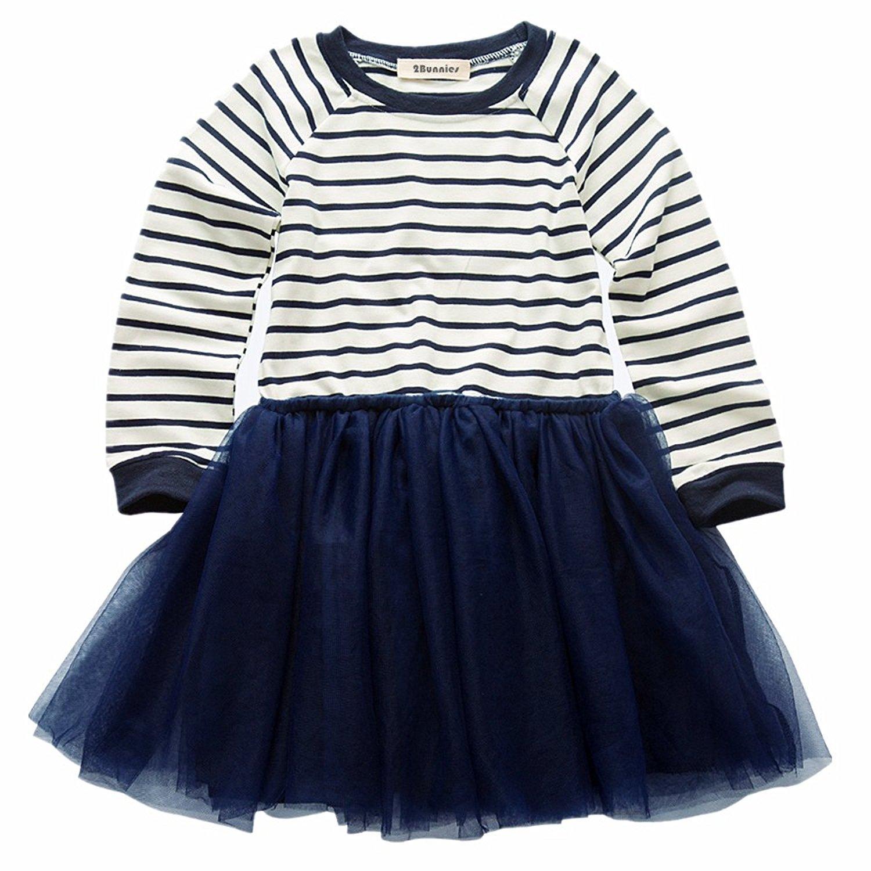 2Bunnies Girl Baby Girl Essential Basic Long Sleeve Stripe Lace Tulle Tutu School Uniform Dresses