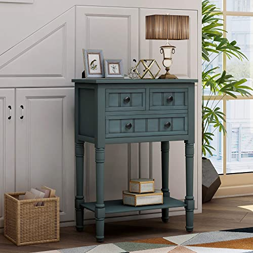 Narrow Console Table P PURLOVE Slim Sofa Table with Three Storage Drawers and Bottom Shelf for Living Room, Easy Assemble Sofa Table with Drawers for Entryway Hallway