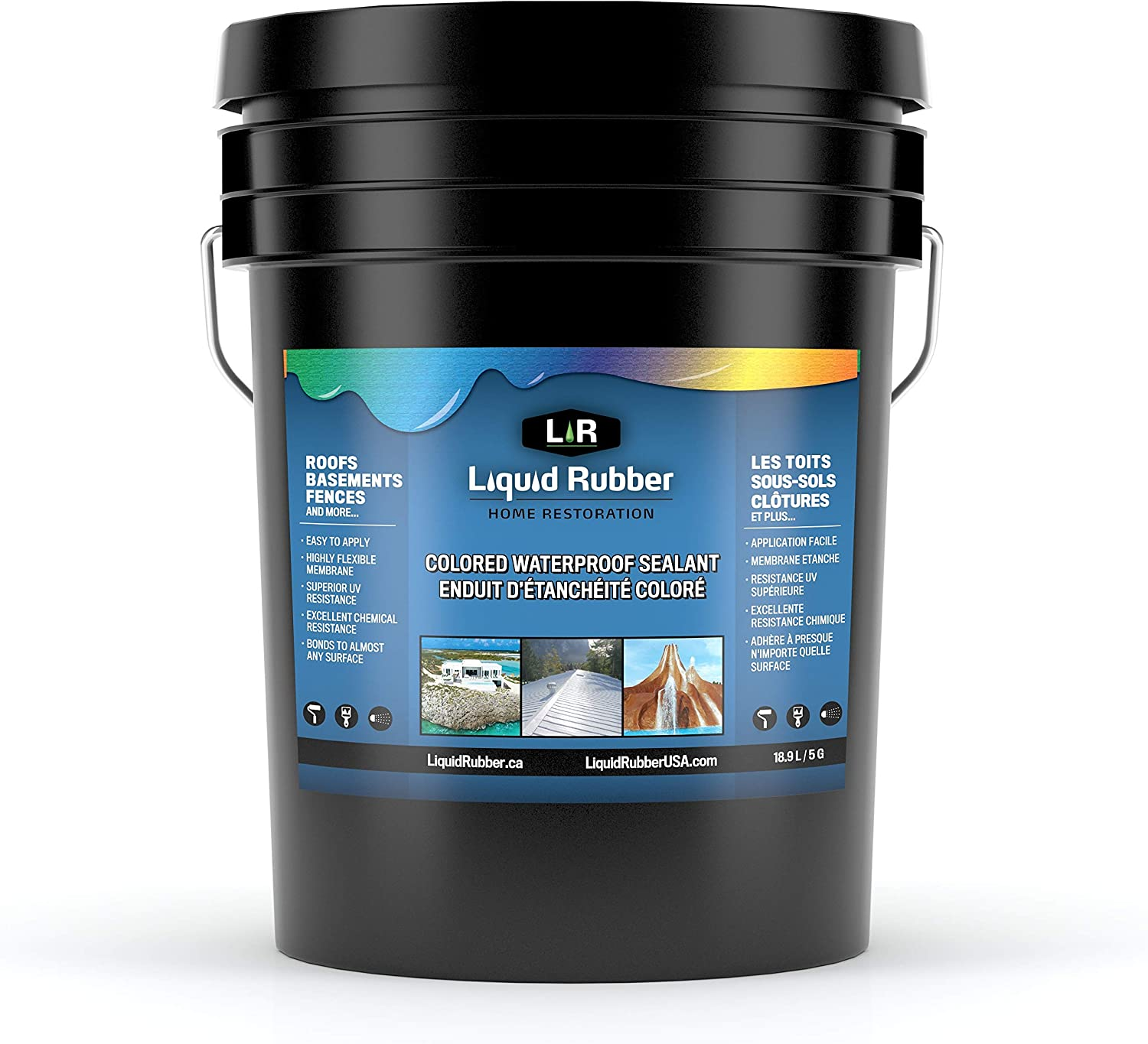 Liquid Rubber Color Waterproof Sealant - Indoor & Outdoor Coating - Easy to Apply - Water Based - White, 5 Gallon