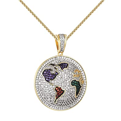 World map pendant multi color lab diamonds iced out 14k gold finish world map pendant multi color lab diamonds iced out 14k gold finish free 24quot gumiabroncs Image collections