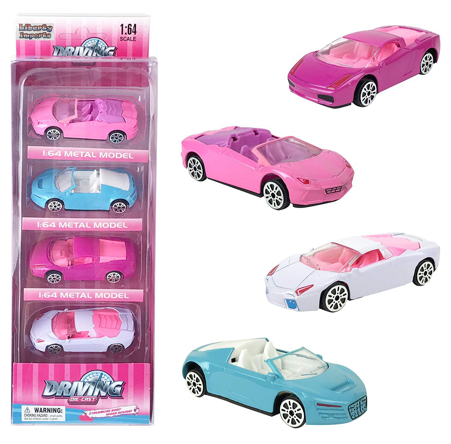 Liberty Imports 1:64 Scale Pink Diecast Race Car Set for Girls - Freewheel Gift Pack of 4