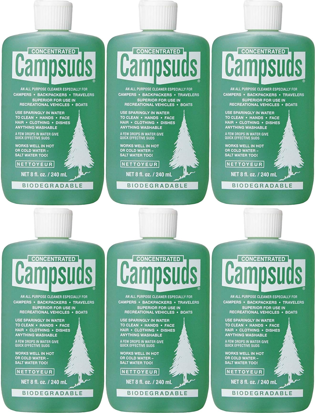 Sierra Dawn Campsuds Outdoor Soap Biodegradable Environmentally Safe All Purpose Cleaner, Camping Hiking Backpacking Travel Camp, Multipurpose for Dishes Shower Hand Shampoo (8-Ounce, 6 Bottles)
