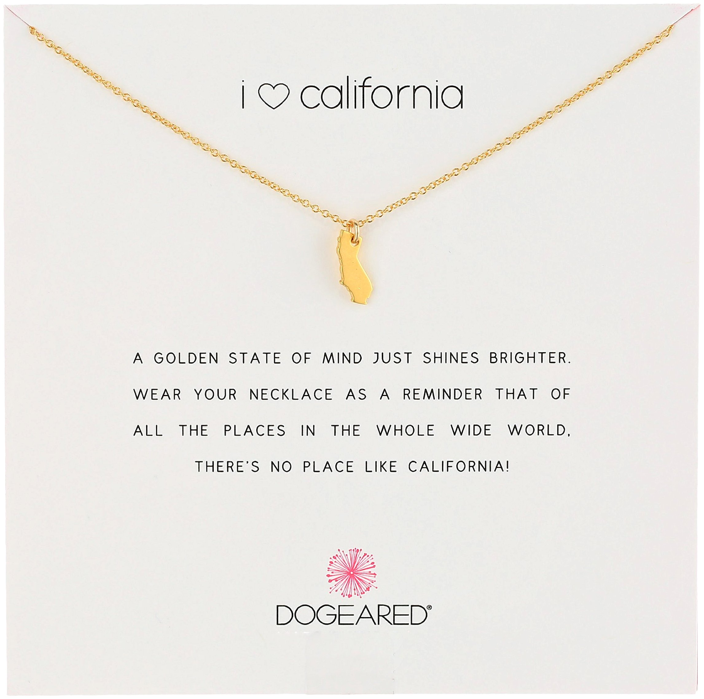 Dogeared Reminders- I Love California Gold Dipped California State Charm Necklace, 16''+2'' Extender