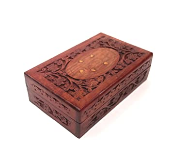 Handcrafted Wooden Jewelry/Keepsake Box With Lid   Small Wood Storage Chest  Vintage Look (