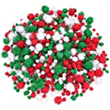 Livder Christmas Pom Poms Pompoms Red Green White Glitter Fluffy Balls, DIY Art Crafts Decorations Supplies (4 Sizes…