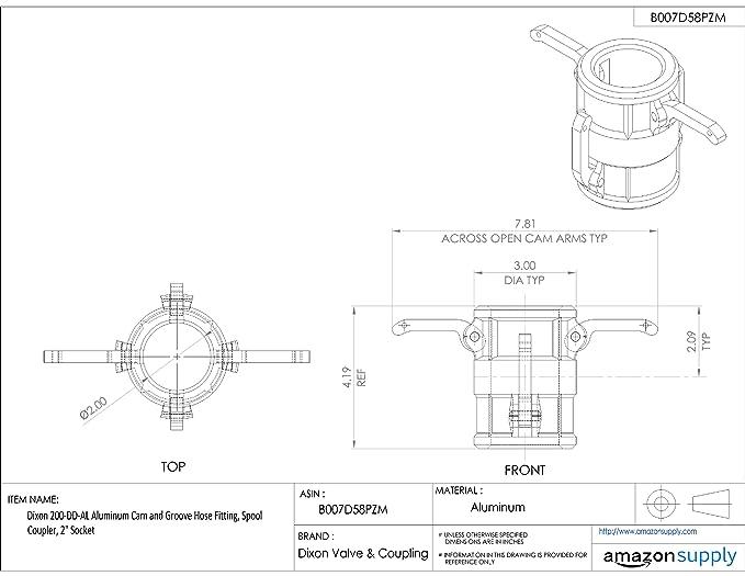 Dixon 200 Dd Al Aluminum Cam And Groove Hose Fitting Spool Coupler