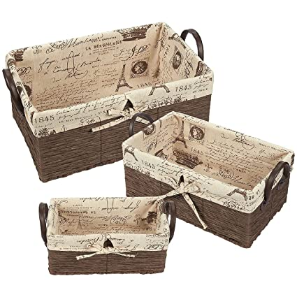 Exceptionnel Fabric Storage Container U2013 3 Piece Utility Storage Baskets With Faux  Leather Handles U2013 Woven