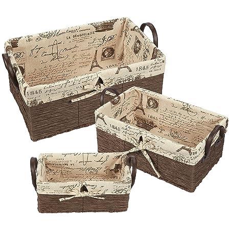 fabric storage container 3 piece utility storage baskets with faux rh amazon co uk Large Storage Baskets for Shelves Baskets and Bins Storage