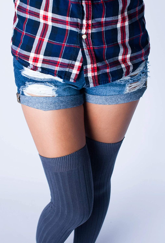 Love Classic Dark Gray Ribbed Cotton Women\'s Thigh High Socks Over the Knee Boot Leg Warmers 6137XoajLwL