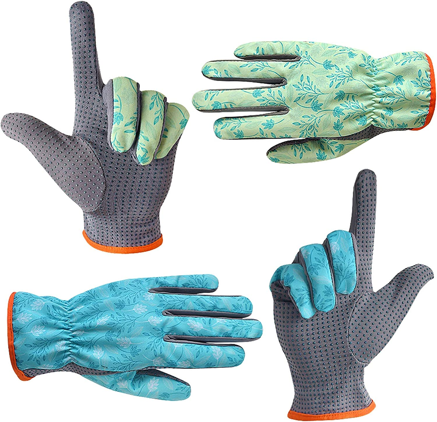 SEUROINT Gardening Gloves for Men and Women, Garden Work Gloves with PVC Dots, 2 Pairs Lightweight Breathable Polyester Gloves, Dark blue & White, Large Size