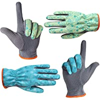 SEUROINT Gardening Gloves for Men and Women, Garden Work Gloves with PVC Dots, 2 Pairs Lightweight Breathable Polyester Gloves, Blue & Green, Medium Size