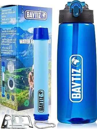 baytiz- Botella de Agua con Filtro Purificador sin BPA - Paja de Supervivencia de Carbón Activado Filtros Purificadores Accesorios Pastillas Potabilizadoras Filtrada Potabilizador Deporte Grifo Water: Amazon.es: Bricolaje y herramientas