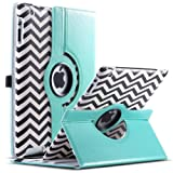 iPad 2/3/4 Case,ULAK 360 Rotating Magnetic PU Leather stand Case Smart Cover For Apple New iPad 4th Generation (Wake/sleep Function) Apple iPad 2, iPad 3(the new iPad)W/Touch Stylus+ Screen protector(Wave-Black/White)