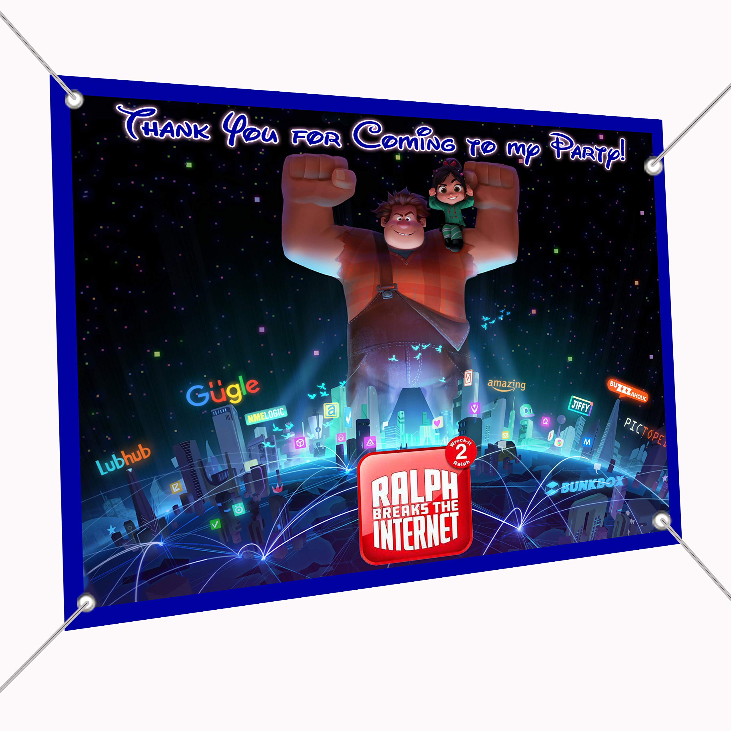 Wreck It Ralph 2 Banner Group Photo Large Vinyl Indoor or Outdoor Banner Sign Poster Backdrop, Party Favor Decoration, 30'' x 24'', 2.5' x 2' Wreck-It, Vanellope, Breaks The Internet