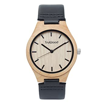 TruWood Executive Wooden Watch with Maple Wood and Leather Strap