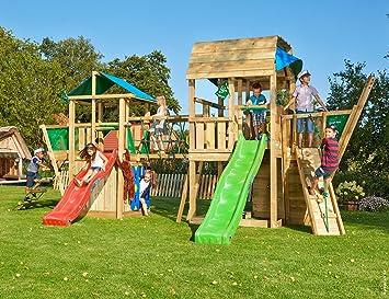 Jungle Gym Paradise 11 Parques Infantiles de Madera para Jardin con Tobogan: Amazon.es: Juguetes y juegos