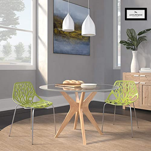 LeisureMod Modern Asbury Dining Chair with Chromed Leg, Set of 2, Green