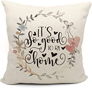 Mancheng-zi It's So Good to Be Home Throw Pillow Case, Wedding Gifts for Couple, Engagement Gift, 18 x 18 Inch Decorative Cotton Linen Cushion Cover for Sofa Couch Bed