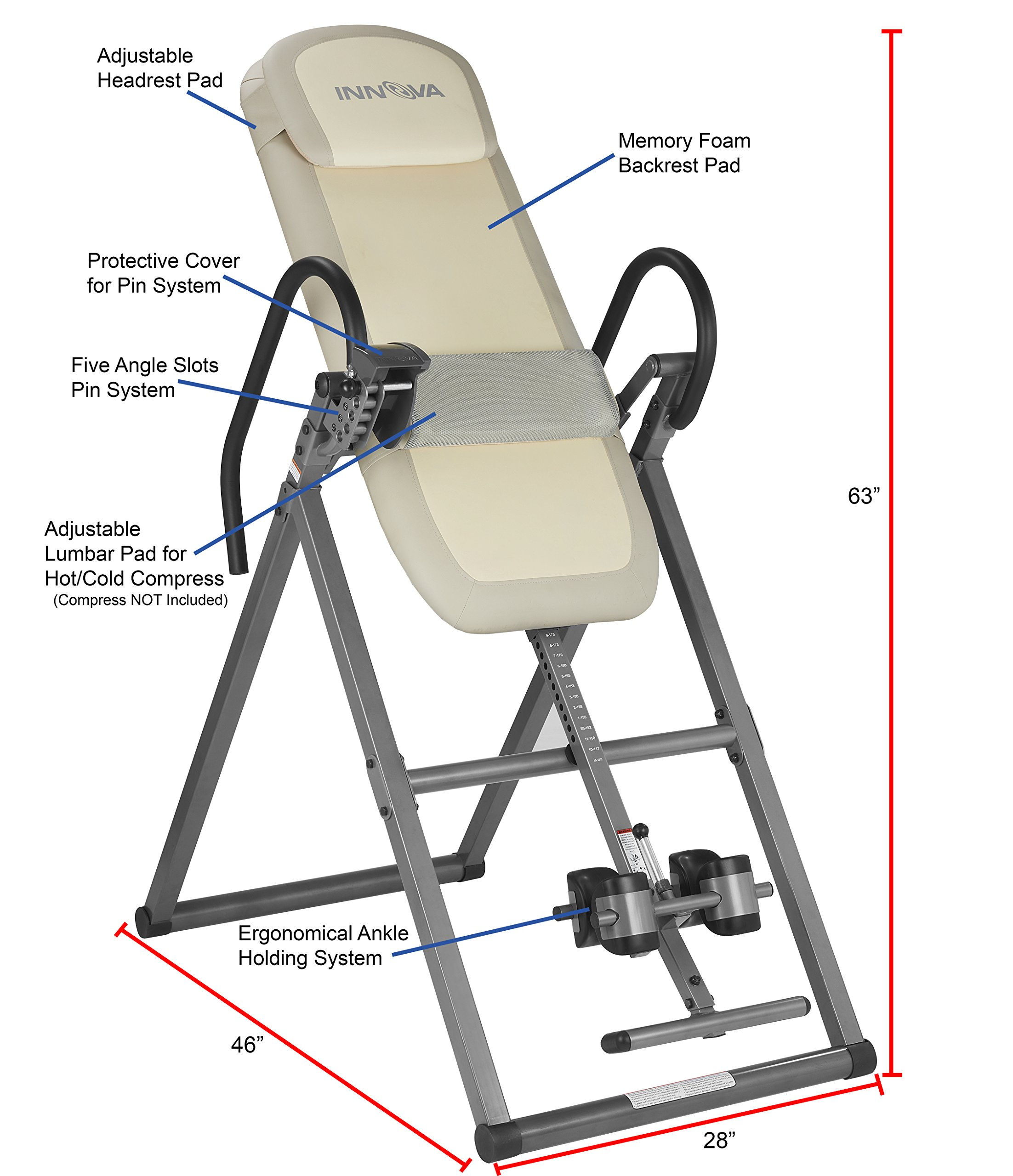 Innova ITX9700 Memory Foam Inversion Table with Lumbar Pad for Hot and Cold Compress by Innova Health and Fitness (Image #2)