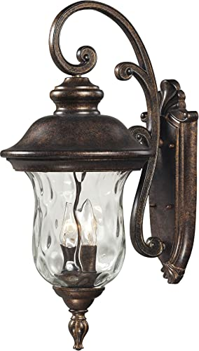 Elk 45021 2 10 by 22-Inch Lafayette 2-Light Outdoor Wall Sconce with Blown Water Glass Body, Regal Bronze Finish