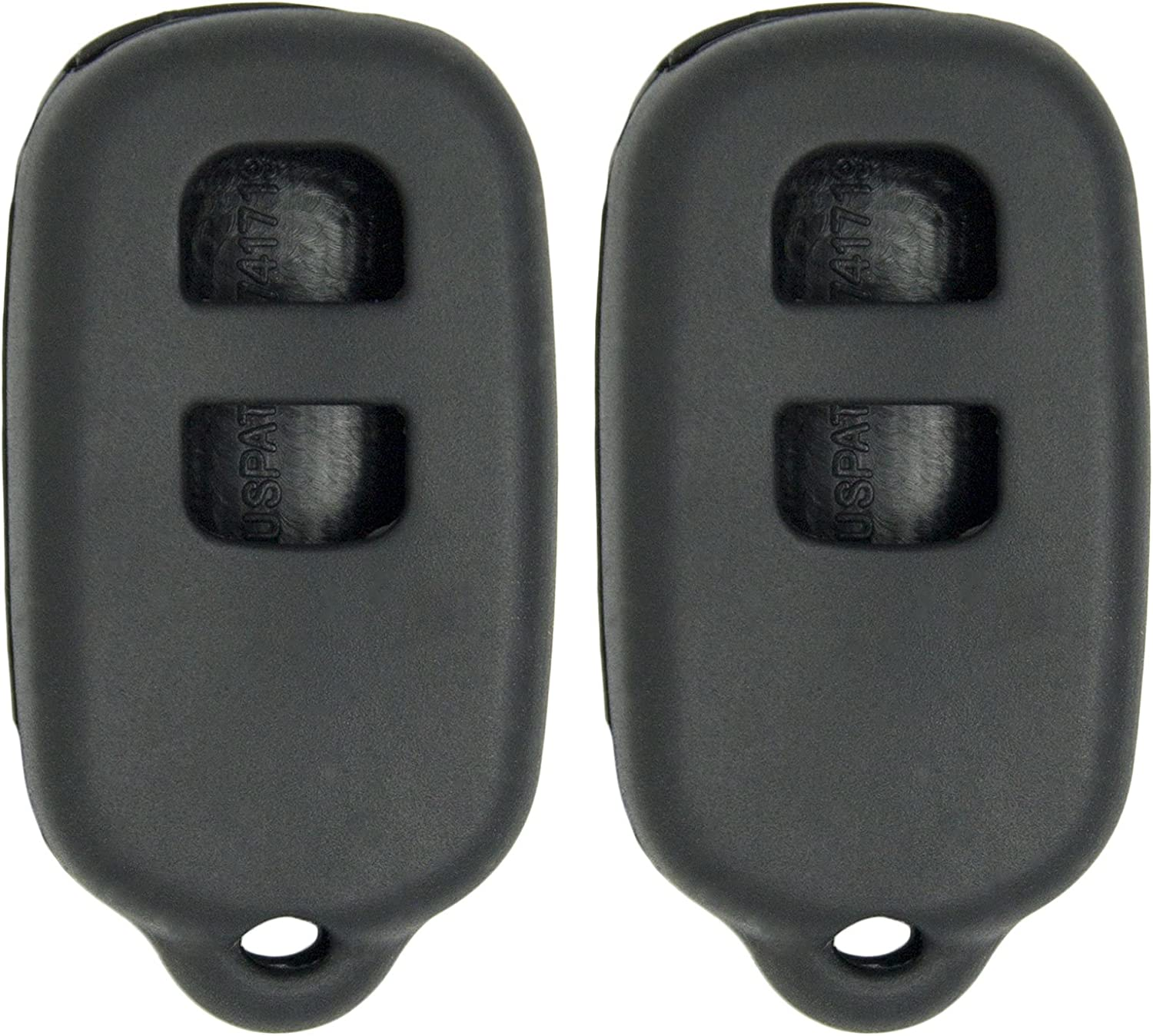 2 Pack Black Keyless2Go New Silicone Cover Protective Cases for Remote Key Fobs with FCC GQ43VT14T HYQ12BAN HYQ12BBX