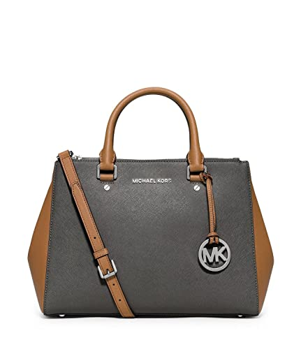 7feff2c816aa Michael Michael Kors Sutton Colorblocked Medium Satchel, Steel Grey/acorn:  Handbags: Amazon.com