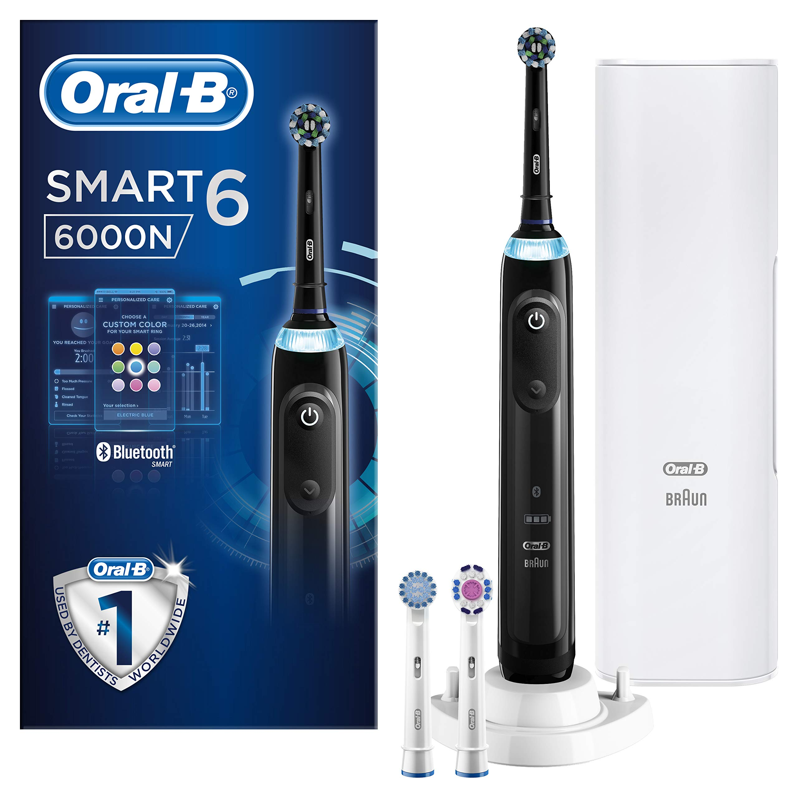 Oral-B Smart 6 6000N CrossAction Electric Toothbrush, 1 Black App Connected Handle, 5 Modes, Pressure Sensor, 3 Toothbrush Heads, Premium Travel Case, 2 Pin UK Plug, Gift, With No Visible Mode Display