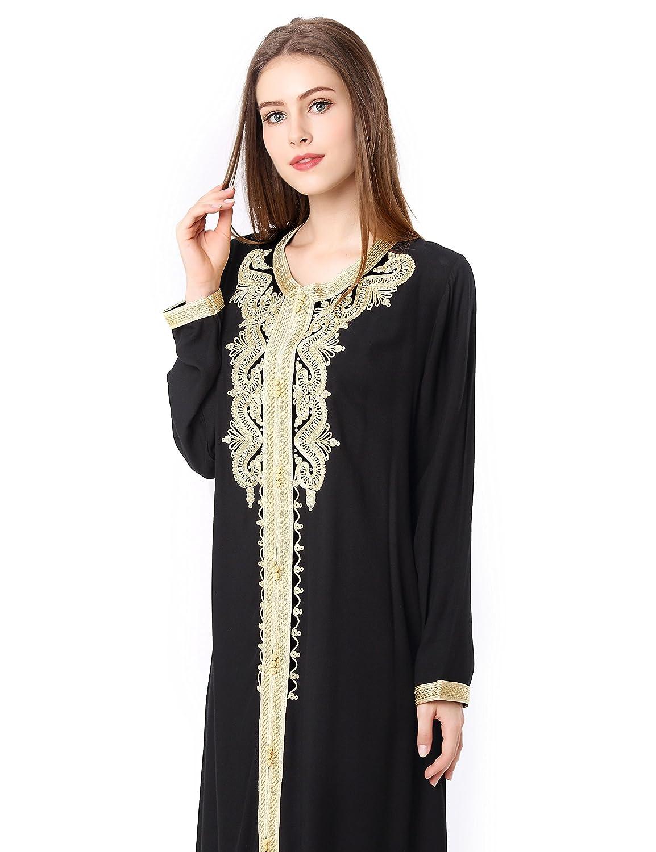 b4d3d87a88f7 BAYA Women Islamic Clothing Maxi Long Sleeve Dress Moroccan Kaftan Caftan Embroidery  Dress Abaya Muslim Robes Gown Jalabiyas Plus Size: Amazon.co.uk: ...