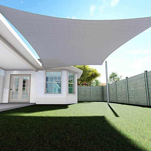 TANG Sunshades Depot 6' x 12' Sun Shade Sail Square Permeable Canopy Light Gray/Grey Customize Commercial Standard 180 GSM HDPE