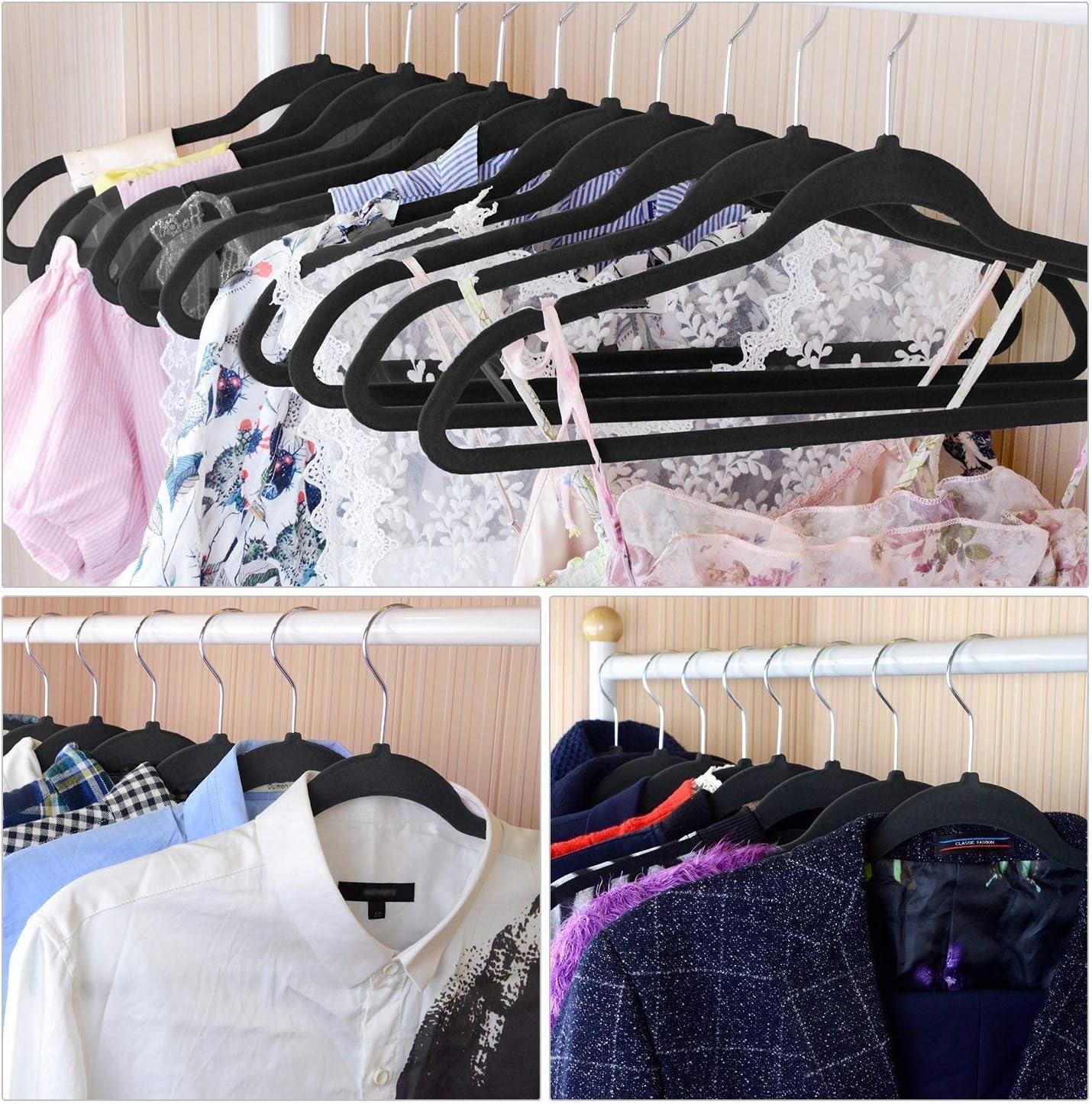 Black /… 30 Pack Nonslip Clothes Hangers Heavy Duty 360 Swivel Hanger Hook Ultra Thin Clothes Racks Perfect for Space Saving IEOKE Velvet Hangers
