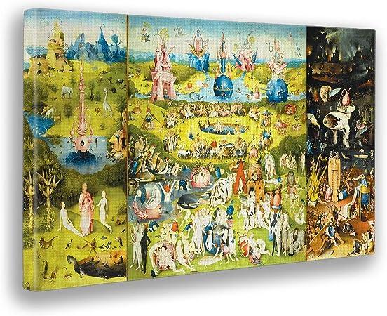 Giallobus - Cuadro - Hieronymus Bosch - El Jardin de Las delicias - Imprimir en Lienzo - Listo a Colgar - Pinturas Modernas para decoración casa diseño - Dormitorio - Varios Tamaños - 140x80 cm: Amazon.es: Hogar