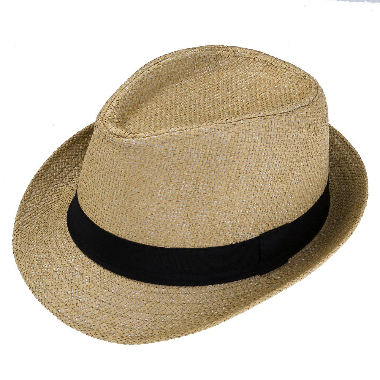 Faleto Unisex Summer Panama Straw Fedora Hat Short Brim Beach Sun Cap Classic (#01 Khaki)