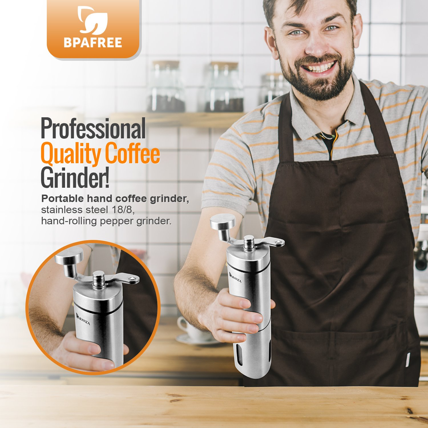 Varanza Personal Coffee Grinder - Small, Portable and Lightweight Grinder for Coffee Beans - Multipurpose Stainless Steel Coffee Grinder