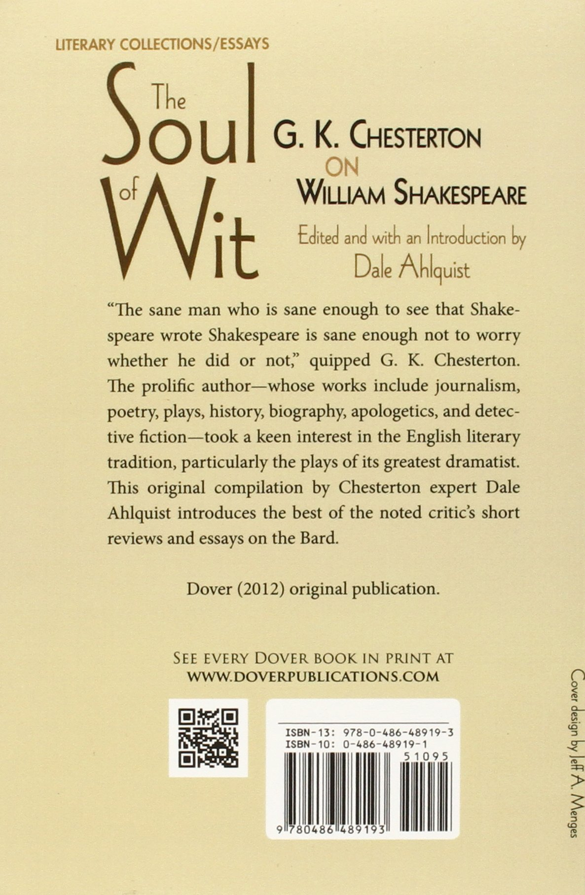 com the soul of wit g k chesterton on william  com the soul of wit g k chesterton on william shakespeare dover books on literature drama 9780486489193 g k chesterton dale ahlquist