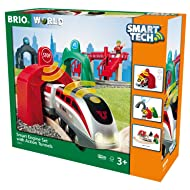 BRIO World Smart Tech 33873 - Large Smart Engine Set with Action Tunnels, Includes 17 Pieces, Smart Engine and Tunnels, Wooden Tracks for Wooden Train, Railway